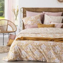 Parure de lit imprimé feuilles et fleurs 240X220cm - Ocre