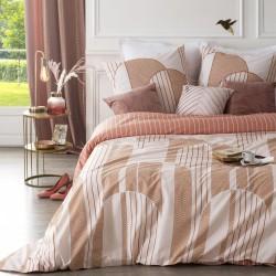 Parure de lit imprimé art déco géométrique 240X220cm - Rose