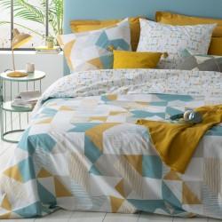 Parure de lit imprimé basti 240X220cm - Bleu et jaune