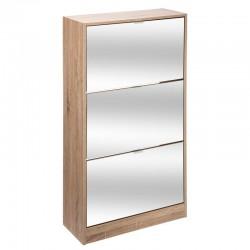 Rangement à chaussures en bois 3 tiroirs avec miroir - Naturel