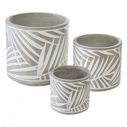 Lot de 3 pots ronds en ciment à feuilles - Gris