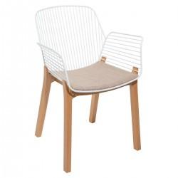Chaise filaire pieds en bois ALBY - Blanc
