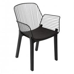 Chaise filaire pieds en bois ALBY - Noir