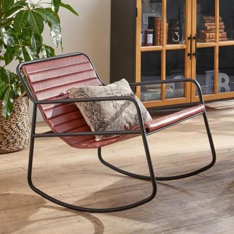 Rocking chair en cuir - Marron