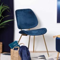 Chaise en velours pieds doré SLOW TIME - Bleu marine