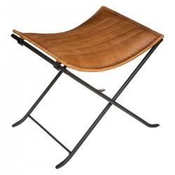 Tabouret façon camping en cuir DARIO, VINTAGE LOFT - Vintage