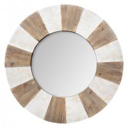 Miroir en bois à relief D90 - Beige