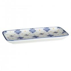 Plat rectangulaire motif fleurs 21X11cm AL ZULA - Bleu