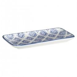Plat rectangulaire motif losange 21X11cm AL ZULA - Bleu
