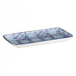 Plat rectangulaire motif carré 21X11cm AL ZULA - Bleu