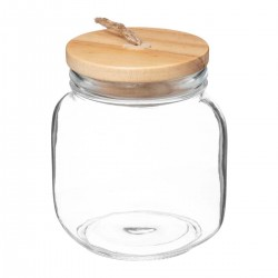 Bocal rond en verre et couvercle en bois 1L AL ZULA - Transparent
