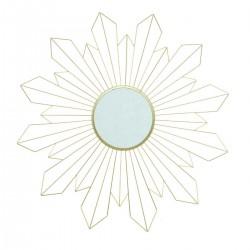 Miroir fleur géométrique en métal D68cm DAHLIA - Doré