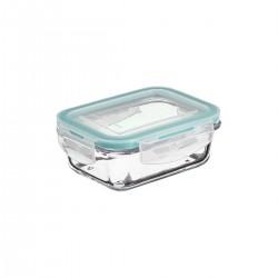 Boîte rectangle en verre 0,33L CLIP EAT - Bleu