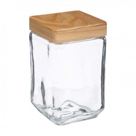 Bocal carré en verre et couvercle en pin 1,25L - Transparent