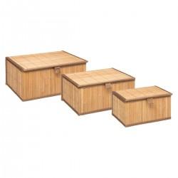 Lot de 3 paniers en bambou avec couvercle - Naturel
