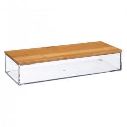 Boîte rectangle L25cm couvercle en bambou SELENA - Transparent