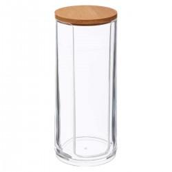 Distributeur de coton couvercle en bambou SELENA - Transparent