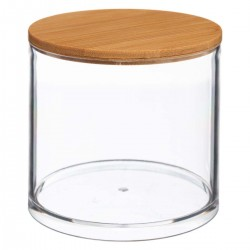 Boîte ronde à coton couvercle en bambou SELENA - Transparent