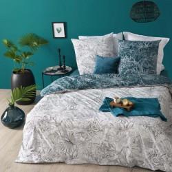 Parure de lit imprimé JUNGLE 240X220cm - Blanc et bleu canard