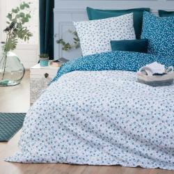 Parure de lit imprimé FLEURS 240X220cm - Blanc et bleu canard