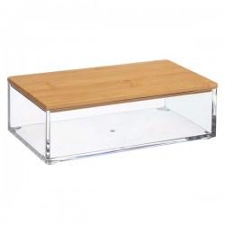 Boîte rectangle L16cm couvercle en bambou SELENA - Transparent