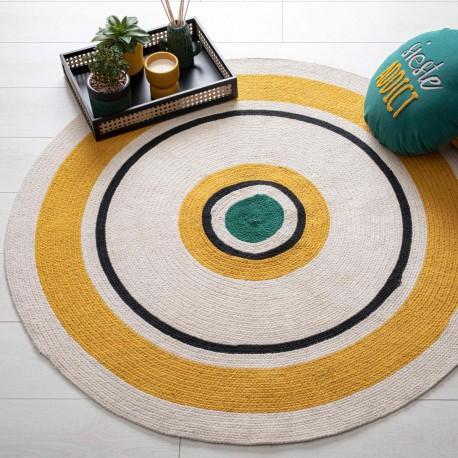 Tapis rond en coton D115cm ARTY STUDIO - Ocre