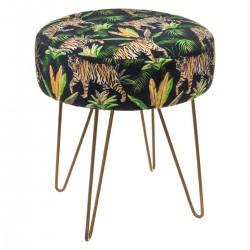 Tabouret effet velours design jungle THE COLONIAL FACTORY - Noir et vert