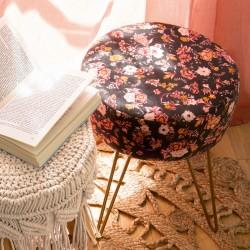 Tabouret effet velours design fleurs ROMANCE GYPSY - Noir et rose