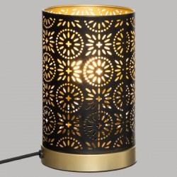 Lampe cylindre en métal H19cm ROMANCE GYPSY - Noir