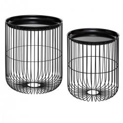 Lot de 2 tables filaires en métal - Noir