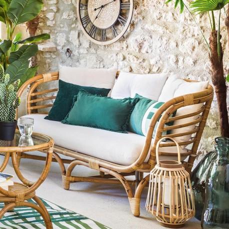 Canapé 2 places en rotin FARAH - Beige marron