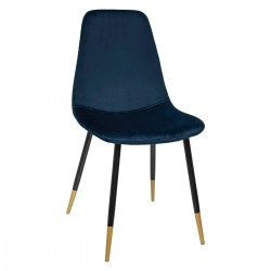 Chaise en velours TYKA, TO FEEL GOOD - Bleu foncé