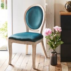 Chaise en bois naturel et velours CLEON, LA DOLCE VITA - Bleu canard