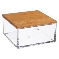 Boîte carrée couvercle en bambou SELENA - Transparent