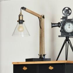Lampe abat-jour en verre H59cm ALAK, ESPRIT RÉCUP - Marron bois