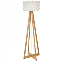 Lampadaire en bambou H150cm MOKI - Blanc et bois