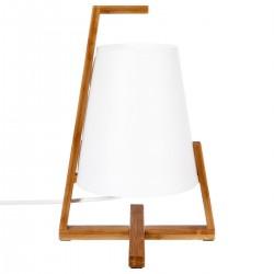 Lampe en bambou abat-jour en plastique H32cm GONG - Blanc et bois