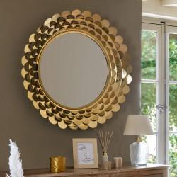 Miroir fleur en métal D91cm - Doré