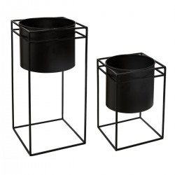 Lot de 2 pots avec support rectangle en métal BLUSH LIVING - Noir