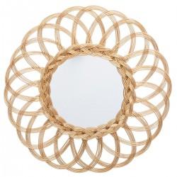 Miroir fleur en rotin D50cm - Doré