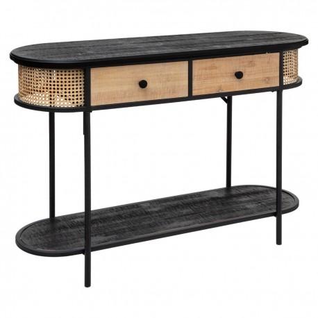 Console à 2 tiroirs en fer et bois ARBELA - Noir et bois