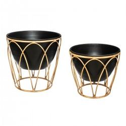 Lot de 2 pots en métal sur support imitation bambou - Noir