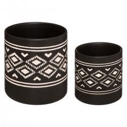 Lot de 2 pots en céramique SAFARI LODGE - Noir