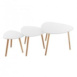 Lot de 3 tables à café triangulaire MILEO - Blanc