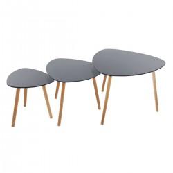 Lot de 3 tables à café triangulaire MILEO - Gris