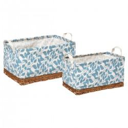 Lot de 2 paniers rectangles en tissu et osier - Bleu