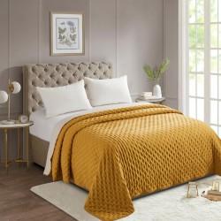 Dessus de lit bicolore 240X260cm LAVE - Ocre