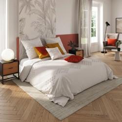 Parure de lit tufté en coton lavé 260X240cm - Ivoire