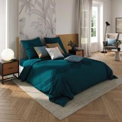 Parure de lit tufté en coton lavé 260X240cm - Bleu canard