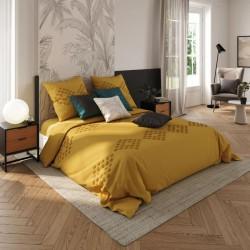 Parure de lit tufté en coton lavé 260X240cm - Ocre